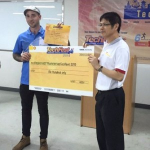 Next stop, India: Jeremiah Wallace is now preparing for the global final of Tata Motors' 'Tech Fest' after placing in the top three of the ASEAN regional final and winning $US600 along the way.