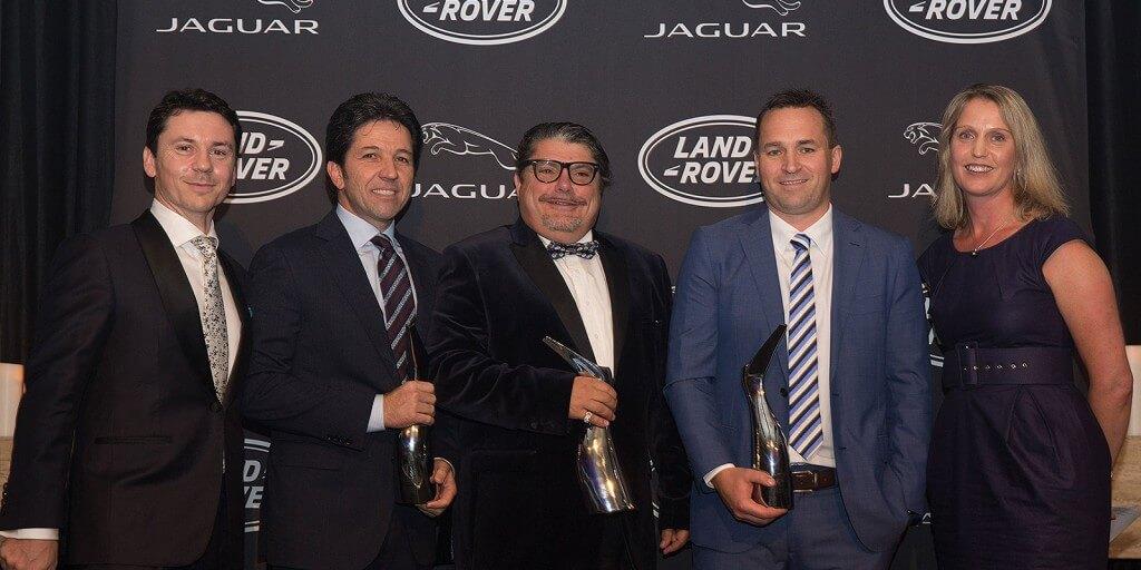 From left to right - Andrew Phillips (JLR Australia), Vince Barbagallo (Southern Land Rover), John Volcanovski (Southern Classic Jaguar), Jonathan Hardwick (Berwick Jaguar), Louise Cassidy (JLR Australia)