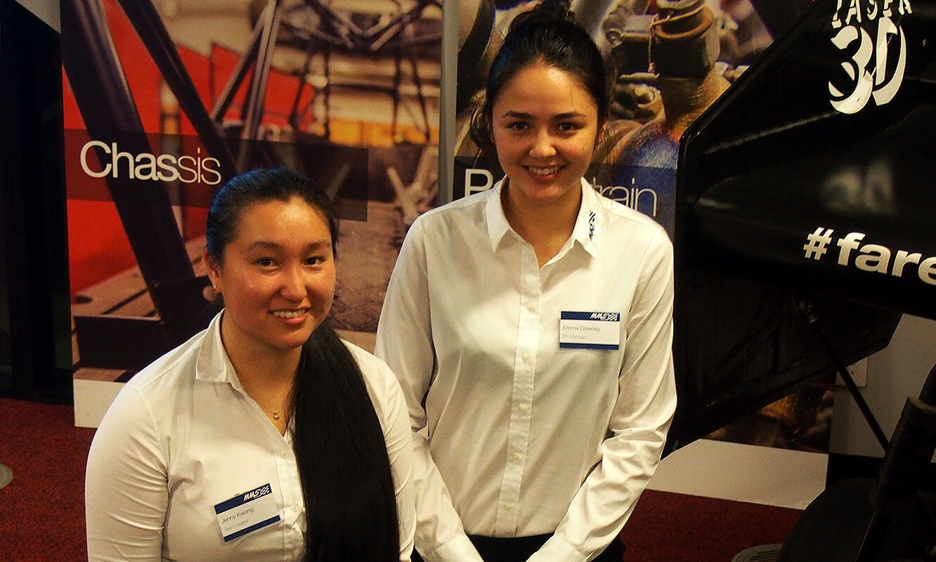 Good sports: From left, Emma Downey and Jenny Kwong from the Monash Motorsport team.