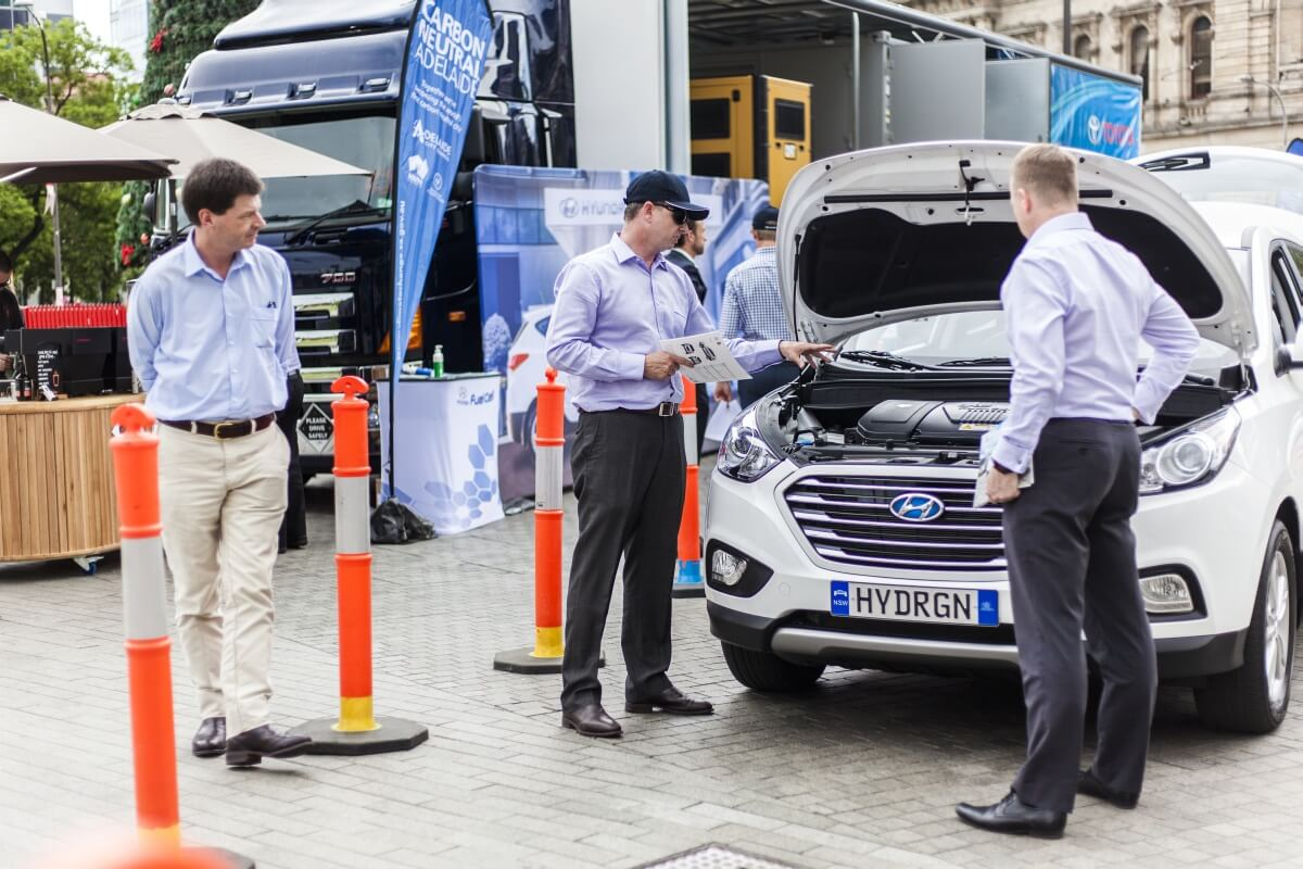 Team effort: Toyota and Hyundai have wheeled out their fuel-cell-powered models together in Adelaide to strengthen the case for hydrogen infrastructure.