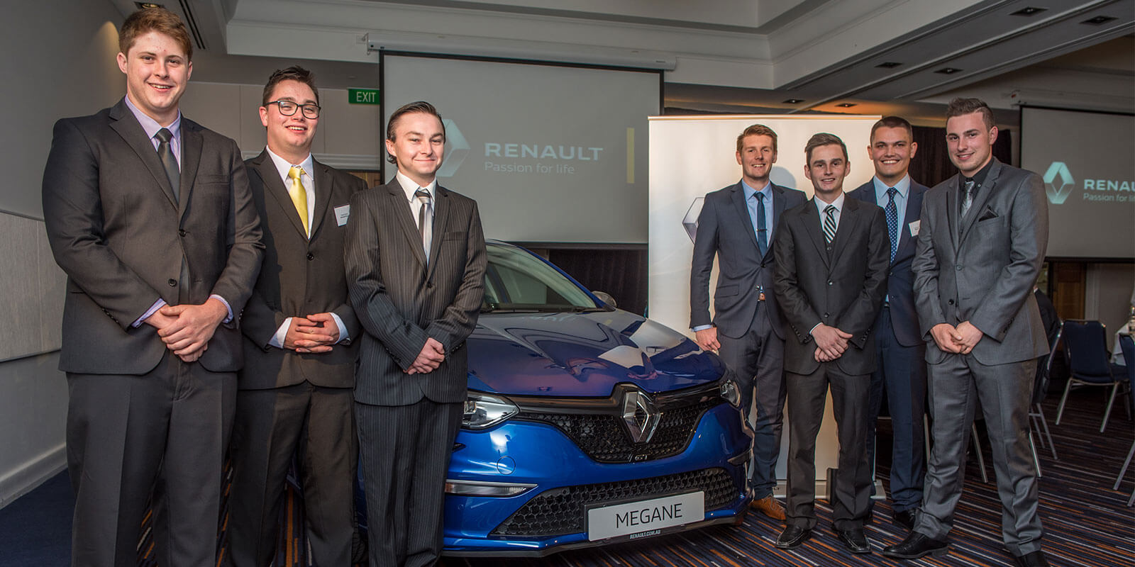 Class of 2016: The seven graduating Renault technicians this year are (from left): Dennis Townsend, Russell Elphick, Charles Power, Luke Curnow, Joshua Cook, Cameron McEwan and Joshua Robertson.